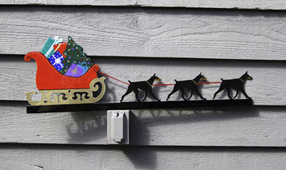Metal Doberman Christmas Sleigh